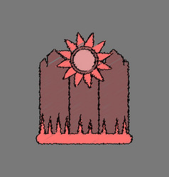 Flat shading style icon fence and sunflowers vector