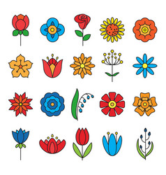 Flower icons set modern thin contour line vector