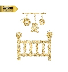 Gold glitter icon of baby cot isolated on vector