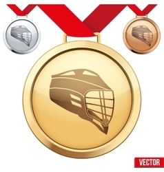 Gold medal with the symbol of a lacrosse inside vector