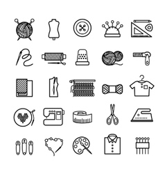 Knitting sewing and needlework icons vector image vector image