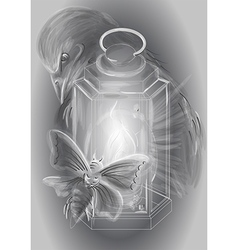 lantern and candle vector image