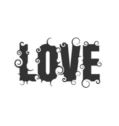 lettering with word love vector image vector image