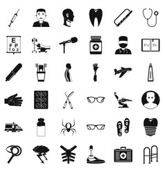 Med care icons set simple style vector