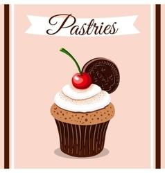 Pastries Cherry Cupcake vector image