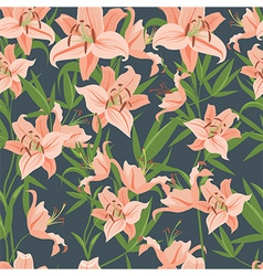 Pink lily seamless pattern vector image vector image