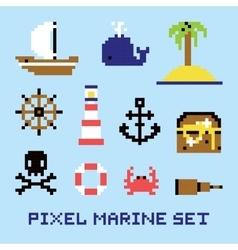 Pixel art marine isolated set vector