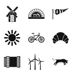 rural locality icons set simple style vector image