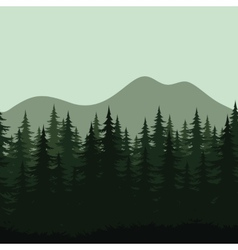 Seamless mountain landscape forest silhouettes vector