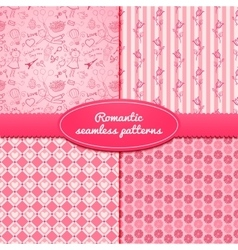 Set romantic seamless pattern vector image