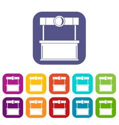 Shopping counter icons set flat vector