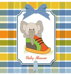 Shower card with an elephant hidden in a shoe vector