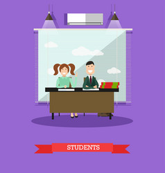 students concept in flat style vector image