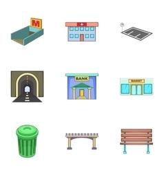 Urban infrastructure icons set cartoon style vector