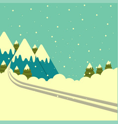 Winter mountains background with ski track vector