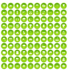 100 rain icons set green circle vector