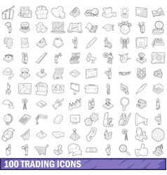 100 trading icons set outline style vector