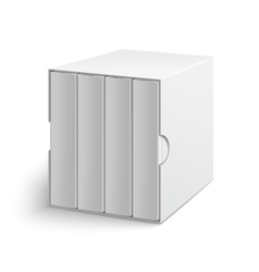 White gray box cover with group of blank books vector