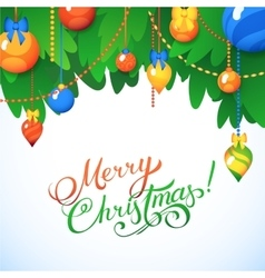 Merry Christmas Card Christmas Tree and Glass vector image
