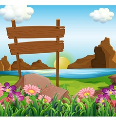 Scene with wooden signs by the lake vector