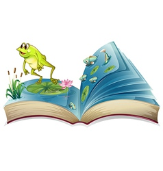 A book witn an image of a frog and fishes vector