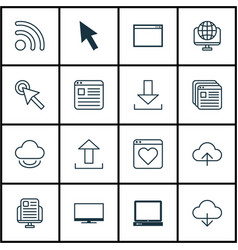 Set of 16 web icons includes send data wifi vector