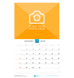 January 2018 wall monthly calendar for 2018 year vector