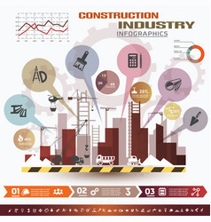Building and construction infographics icons vector