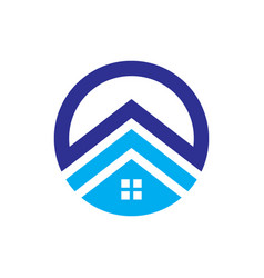 Circle house roof abstract business company logo vector