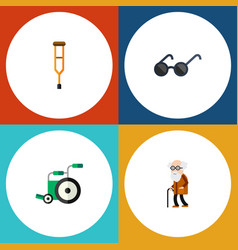 Flat icon handicapped set of ancestor spectacles vector