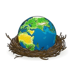 Small model of earth in a birds nest vector
