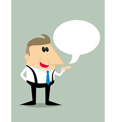 Cartoon businessman with speech bubble vector