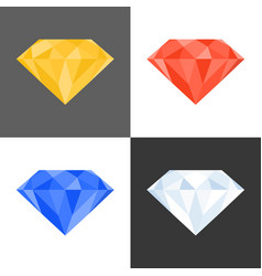 3d diamond iconmultiple colours vector image vector image