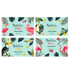 4 tropical hawaiian posters with exotic birds vector