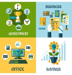Flat concept of business office achievement vector