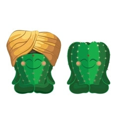 Cactus sitting in the lotus position vector