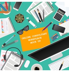 Workspace of the online consultant mock up for vector