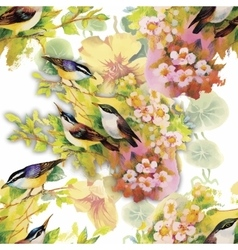 Watercolor wild exotic birds on flowers seamless vector