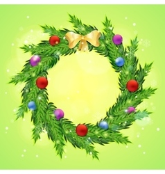 Christmas wreath with baubles vector