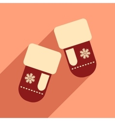 Flat icon with long shadow mittens snowflakes vector