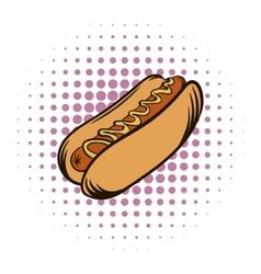 Hot dog with mustard comics icon vector