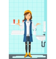 Woman in despair standing near leaking sink vector