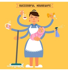 Successful housewife successful woman multitasking vector