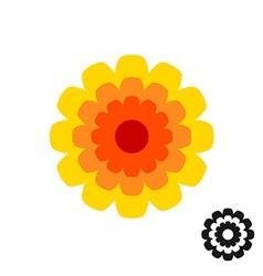 Marigold calendula flower top view logo Black vector image