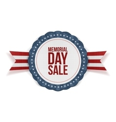 Memorial day sale patriotic emblem and ribbon vector