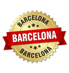 Barcelona round golden badge with red ribbon vector
