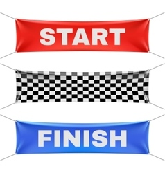 Starting finishing and checkered vinyl banners vector image