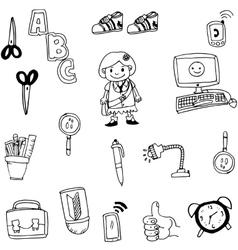 Object school in doodle art vector image