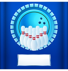 Bowling plaque on blue background vector image