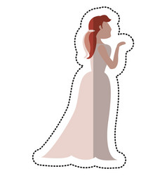 bride wedding standing pose vector image vector image